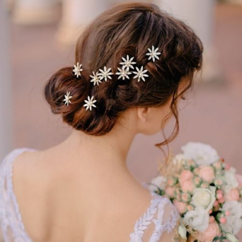 gold bridal hair pins with pearl centre, wedding hair pins